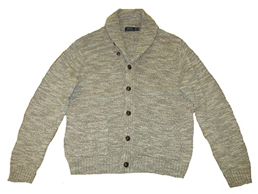 6ceb2878a0255 RALPH LAUREN Polo Mens Cotton Ragg Shawl Collar Cardigan Sweater Oatmeal  (XX-Large)
