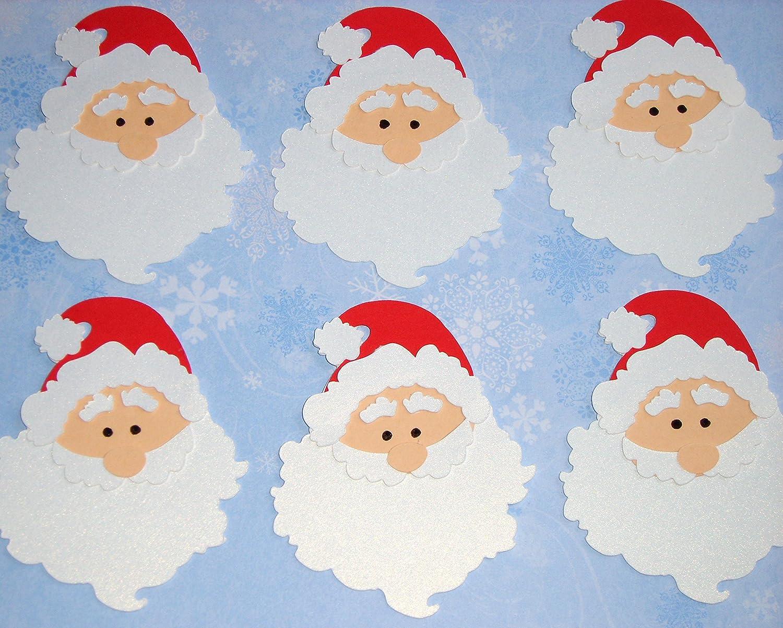 Christmas Toppers For Card Making.6 Diecut Christmas Santa Faces Cute Santa Heads For