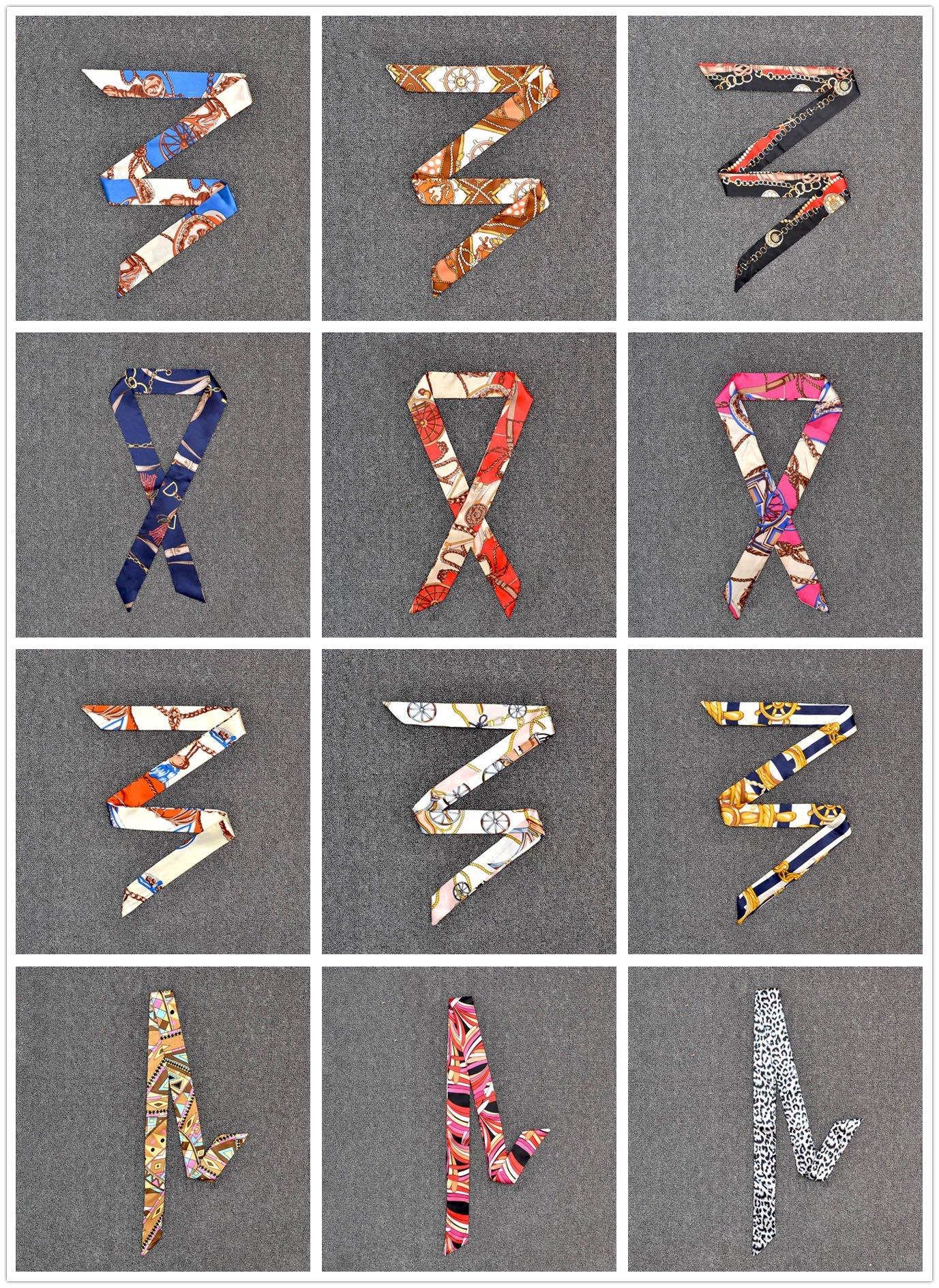 Aimyoo 24pcs Neckerchief Scarf - 12 Pairs Hairband Handbag Handle Ribbon Fashion Bag Twilly for Women Girls Decoration