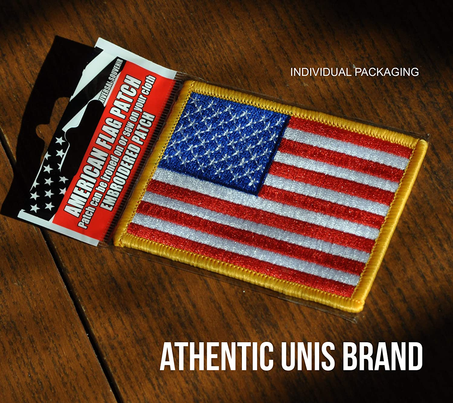 USA UNITED STATES FLAG SCRIPT EMBROIDERED PATCH 3.5 X 2 INCHES