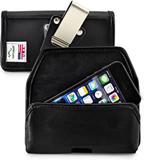 product image for Turtleback Belt Case Made for Apple iPhone SE 5 5c 5s Black Holster Leather Pouch with Heavy Duty Rotating Ratcheting Belt Clip Horizontal Made in USA