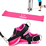 FitSupreme 2PCS Ankle Straps for Cable Machine, Fitness Ankle Cuffs for Glute Kickbacks, 3 D-Rings for Leg Exercises&Abs,1 Resistance band