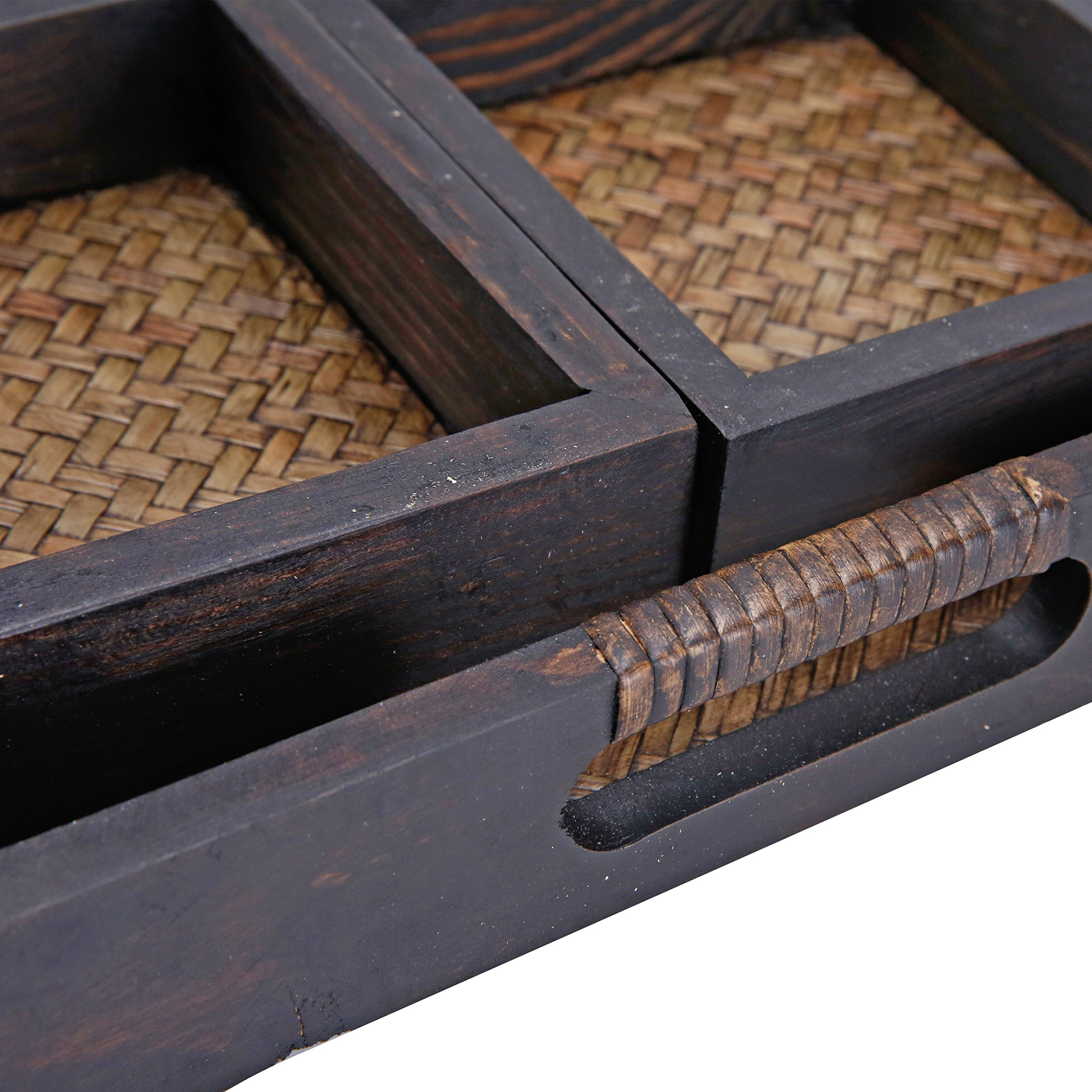 MyGift 7 Piece Flocked Nesting Mango Wood and Woven Rattan Jewelry Organizer Display Trays by MyGift (Image #6)