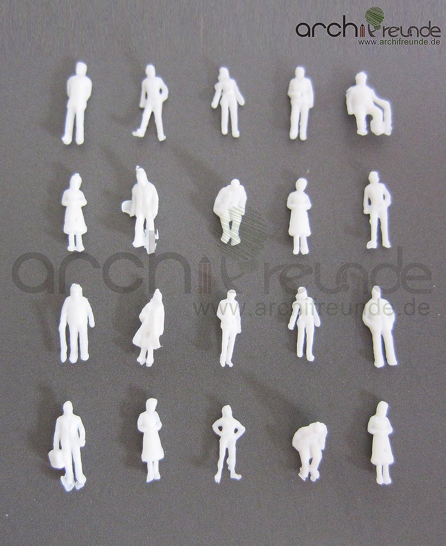100 x Modell Figuren, weiß unbemalt, für Modellbau 1:150, Modelleisenbahn Spur N weiß unbemalt für Modellbau 1:150 Archifreunde