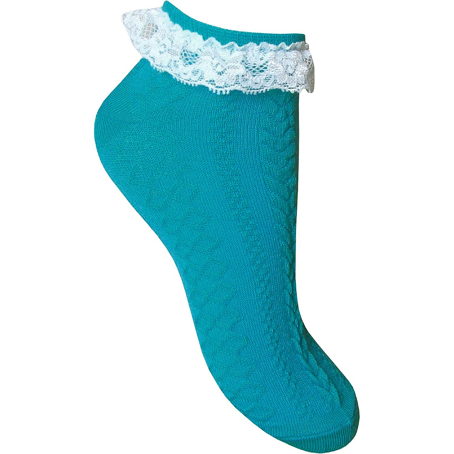 Ladies /& Girls Pretty Lace Top Textured Pattern Neon Cotton Rich Ankle Trainer Socks Liners