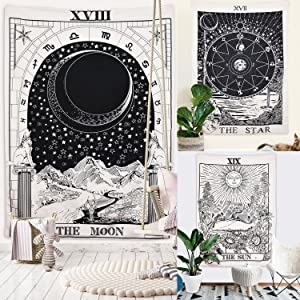 """Romantic Tarot Tapestry The Moon The Star The Sun Tapestry Medieval Europe Divination Tapestry Wall Hanging Tapestries Mysterious Wall Tapestry for Home Decor (Sun & Moon & Star, 59""""×59"""")"""