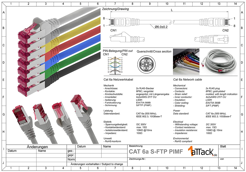 2m SET 10 GB//s cable patch CAT6 S-FTP Doble blindado PIMF 500MHz libre de hal/ógenos compatible con CAT5 CAT6a CAT7 CAT8 CAT6a CAT 6a Ethernet LAN cable de red 7 colores 7 piezas