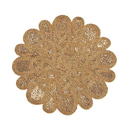 Round Bronze Beaded Placemat - Set of 4