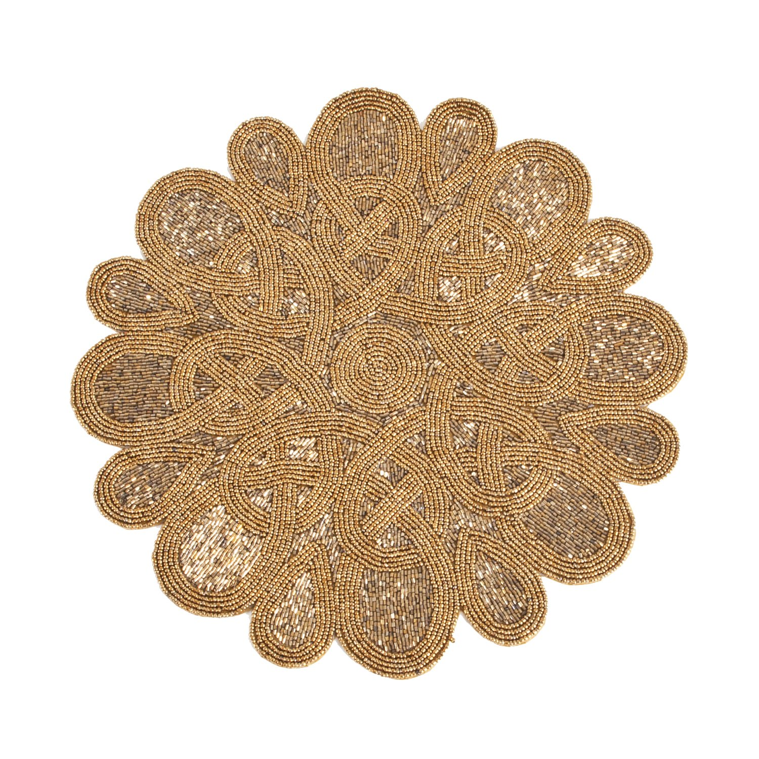 Bronze Color Beaded Design Placemat 15'' Round , (4 Piece Set)