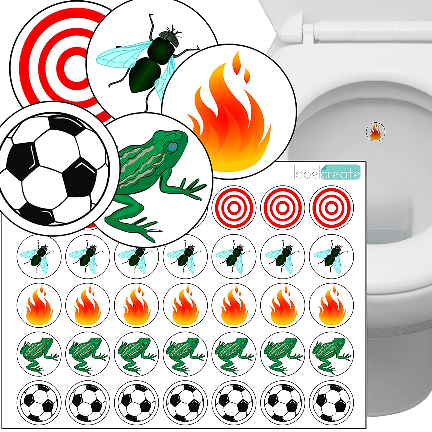 Toilet Thingies - Variety Pack of 35 Toilet Training Stickers. Superior Quality Transparent Plastic Label Material. Free UK Delivery. Label Create