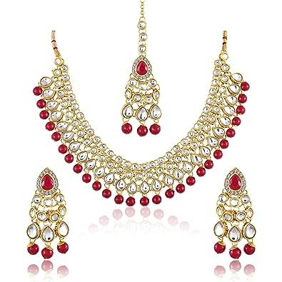 Buy Meenaz Gold Plated Kundan Pearl Ruby Jewellery Set With