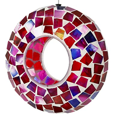 Sunnydaze Crimson Mosaic Fly-Through Bird Feeder, Unique Hanging Outdoor Decorative Glass, Round, 7-Inch