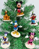"Disney MICKEY MOUSE 6 Piece Ornament Set Featuring Mickey Mouse, Minnie Mouse, Donald Duck, Daisy Duck, Goofy and Pluto, Ornaments Average 2.5"" Inches Tall"