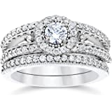 1 Carat Vintage Halo Diamond Engagement Wedding Ring Set 14K White Gold