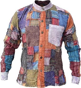 Little Kathmandu - Camisa de algodón, casual, para hombre, diseño de parches, manga larga, sin cuello, para abuelo: Amazon.es: Ropa y accesorios
