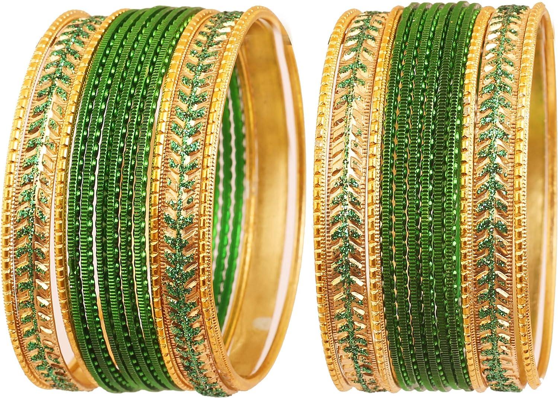Touchstone - Juego de 24 pulseras con textura de Hollywood indias de 2 docenas de colores metálicos para mujer, color dorado envejecido