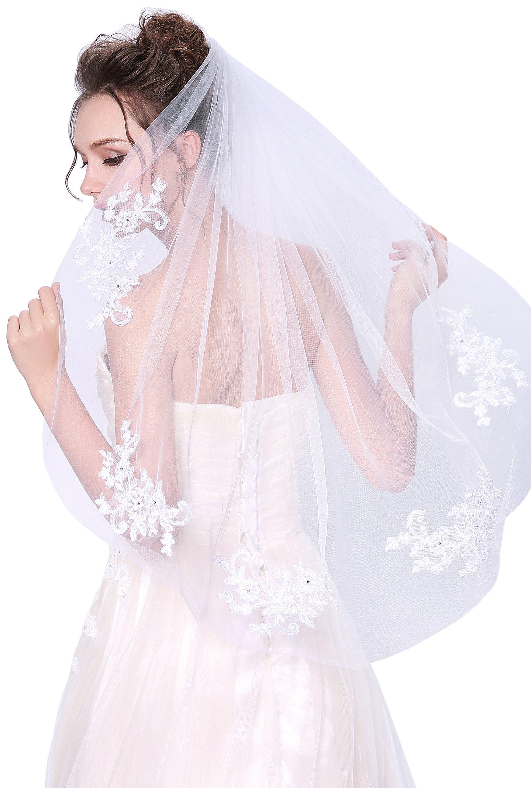 Deceny CB Wedding Veil Lace White Bridal Veil with Rhinestones 1 Tier