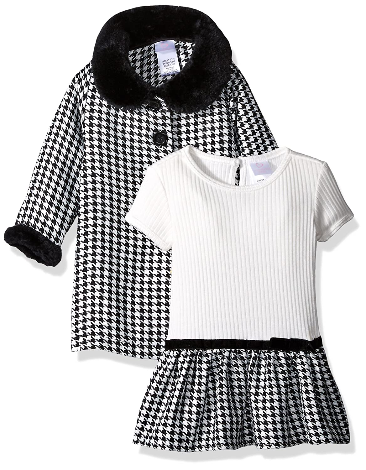 3326e6c82ec5f Youngland Baby Girls' 2 Piece Coat Set with Knit to Woven Dress: Amazon.in:  Clothing & Accessories