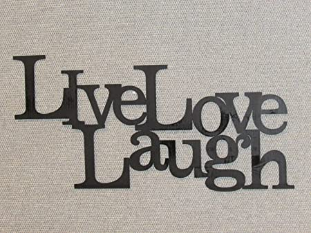 Live Laugh Love Wood Word Art Sign Wall Decor Black Home Kitchen