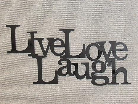 Amazon Com Live Laugh Love Wood Word Art Sign Wall Decor Black Home Kitchen