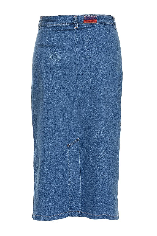 3be66b5818f Ice Cool Ladies Women s Light Blue Stonewash Stretch Denim Maxi Skirt Sizes  14 to 30  Amazon.co.uk  Clothing