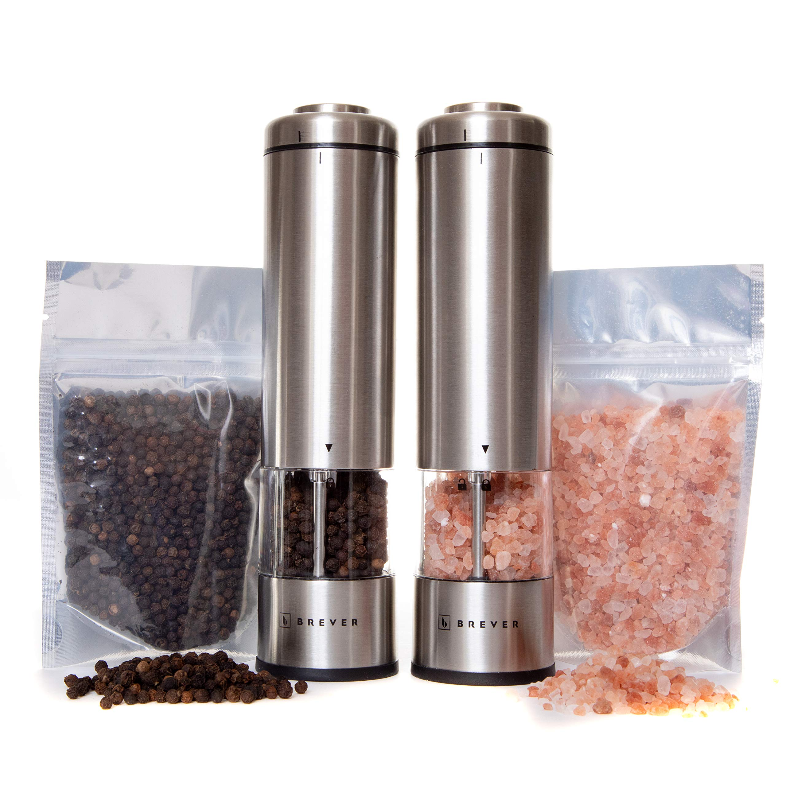 BREVER Premium Electric Salt & Pepper Grinder Set | With Free Himalayan Salt & Whole Black Peppercorn | Pack Of 2 Mills With free Mill Rest | Adjustable Coarse | LED Spotlight | Battery Operated by BREVER