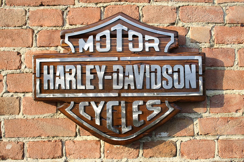 LOGO INSEGNA Harley-Davidson LEGNO ACCIAIO cm 55x42 HOTCHOP