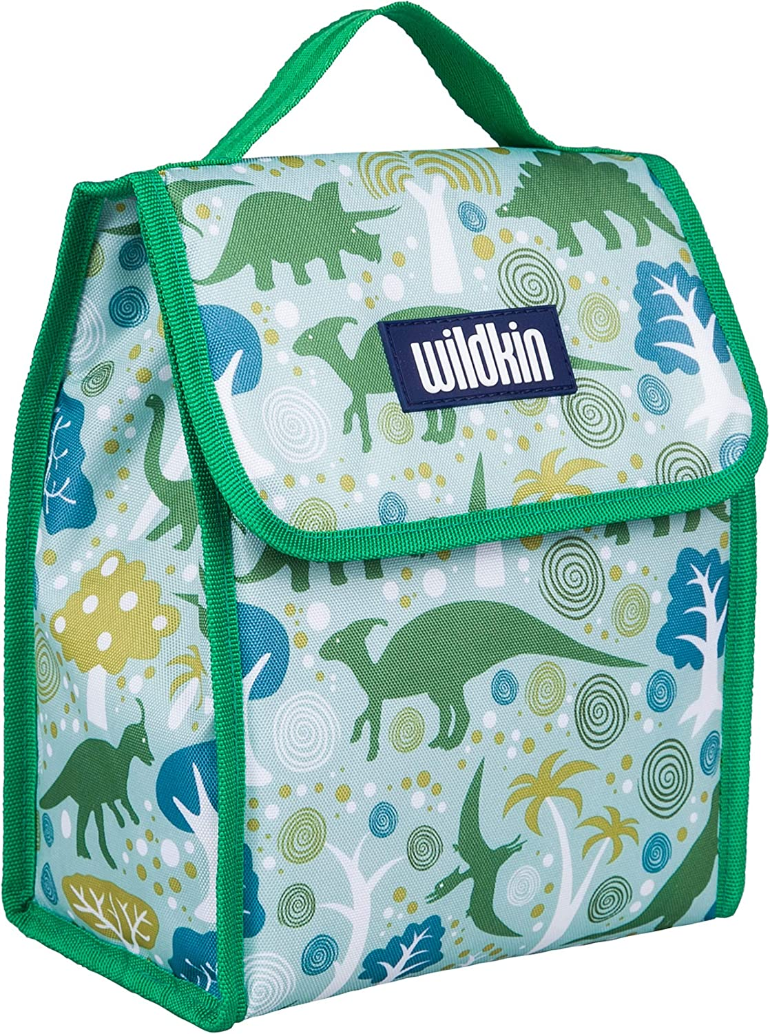 Wildkin Kids Insulated Lunch Bag for Boys and Girls, Lunch Bags is Ideal Size for Packing Hot or Cold Snacks for School and Travel, Mom's Choice Award Winner, BPA-Free, Olive Kids (Dinomite Dinosaurs)