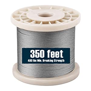 1/16 Stainless Steel Wire Rope 350 Foot Length, 7x7 Strand Core Aircraft Cable, 480 Lbs Breaking Strength, by HarborCraft