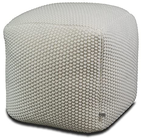 White Pouf Ottoman Simple Amazon Aron Living 60White CrochetedKnitted Pouf Ottoman