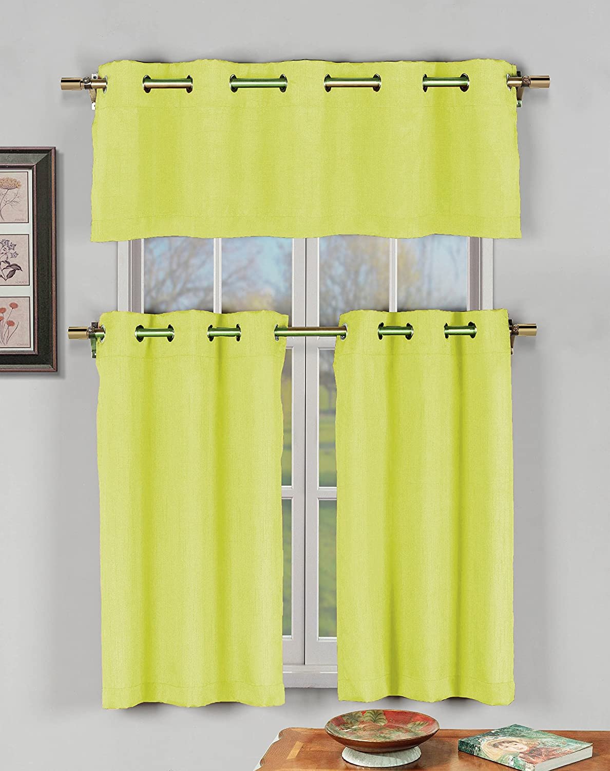 Amazoncom Champagne 3 Pc Kitchen Window Curtain Set With Silver
