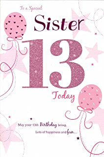 Daughter 13th birthday card fashionista design amazon for a special sister happy 13th birthday card pink balloons bookmarktalkfo Gallery
