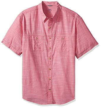 51cbad9e IZOD Men's Big and Tall Saltwater Chambray Solid Short Sleeve Shirt,  Rapture Rose, X