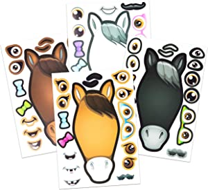 24 Make A Horse Stickers Sheets For Kids - Horse, Petting Zoo, & Barnyard Theme Birthday Party Favors & Decorations - Includes Brown, Black, & White/Grey Horses - Fun Craft Activity For Children 3+