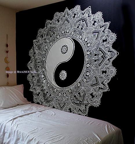 Tapiz Raajsee de algodón indio con diseño de mandala color negra y blanca para colgar en la pared, 220 x 230 cm, algodón, Yin Yang, 220*240: Amazon.es: Hogar