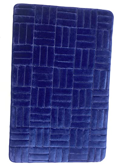 Tribecca Non-Slip Memory Foam Bath Mat Floor Mat Door Mat with Rubber Backing 50 x 80 cm (Blue)