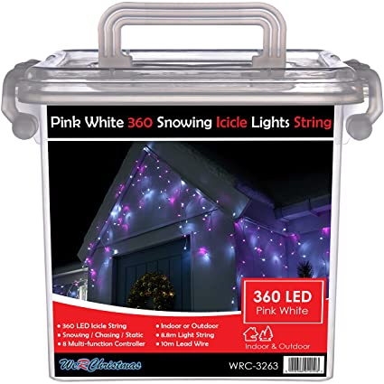 Snowing Christmas Lights.Werchristmas Snowing Icicle Christmas Lights String With 360 Led Chasing Static Settings And 19 M Cable Pink