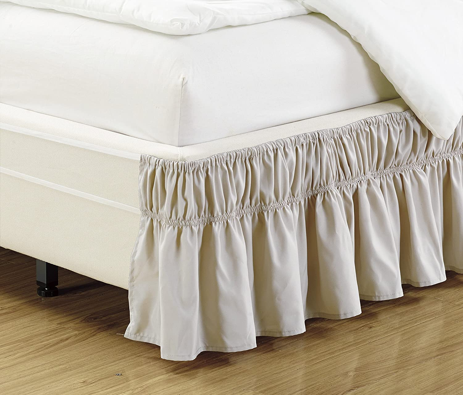 solid beige bed dust ruffle skirt twin full size wrap around elastic new ebay. Black Bedroom Furniture Sets. Home Design Ideas