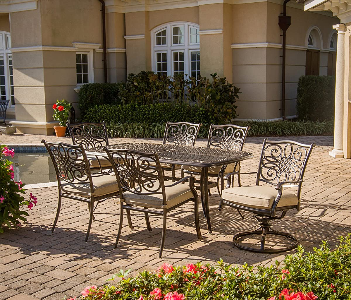 Hanover TRADITIONS7PCSW Traditions 7-Piece Deep-Cushioned Outdoor Dining Set