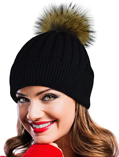 Winter Hat Beanie Cap Knit Hats Set Real Fur Pom Pom and Brush (Black) 9fea976fc9f4