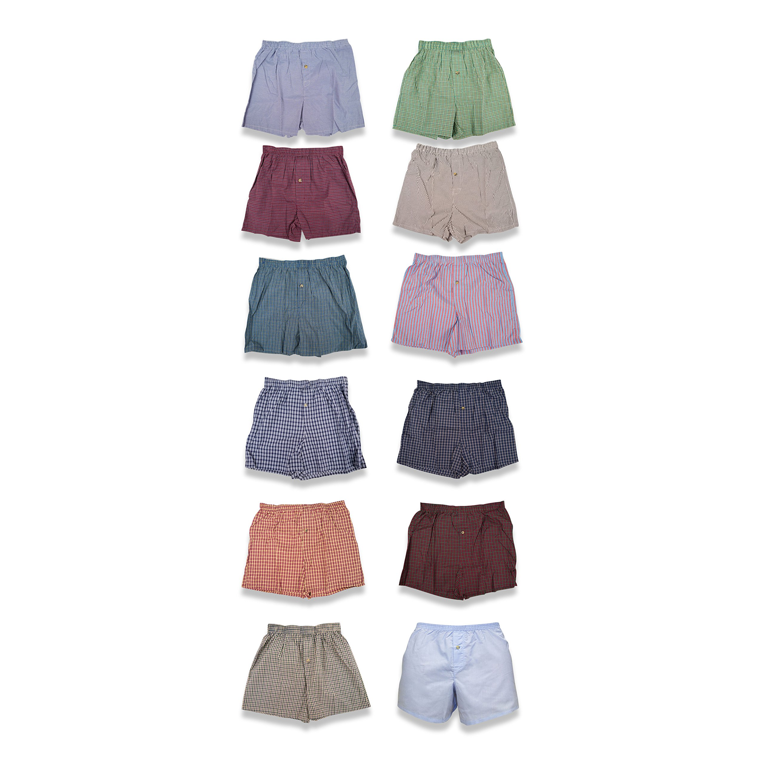 Classic Basics Men's 12 Pack Woven Boxers Sleep Shorts Travel Pack Collection (X-Large ( 36 -38 ), 12 Pack - Assorted Plaids & Patterns Colors Vary)