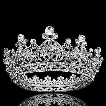 "Full Round 6/"" Brides Tiara Crown Austrian Rhinestone Wedding Pageant Costumes"