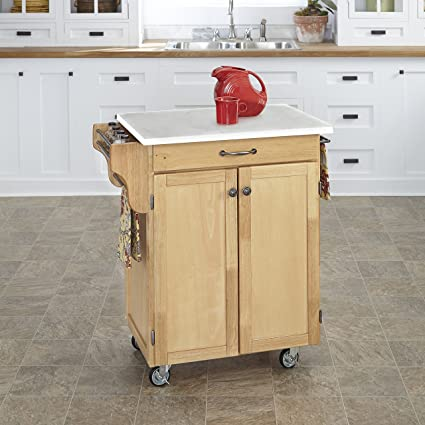 Home Styles 9001-0110 Kitchen Cart, White Marble Colored Quartz Top,  Natural Wood Finish