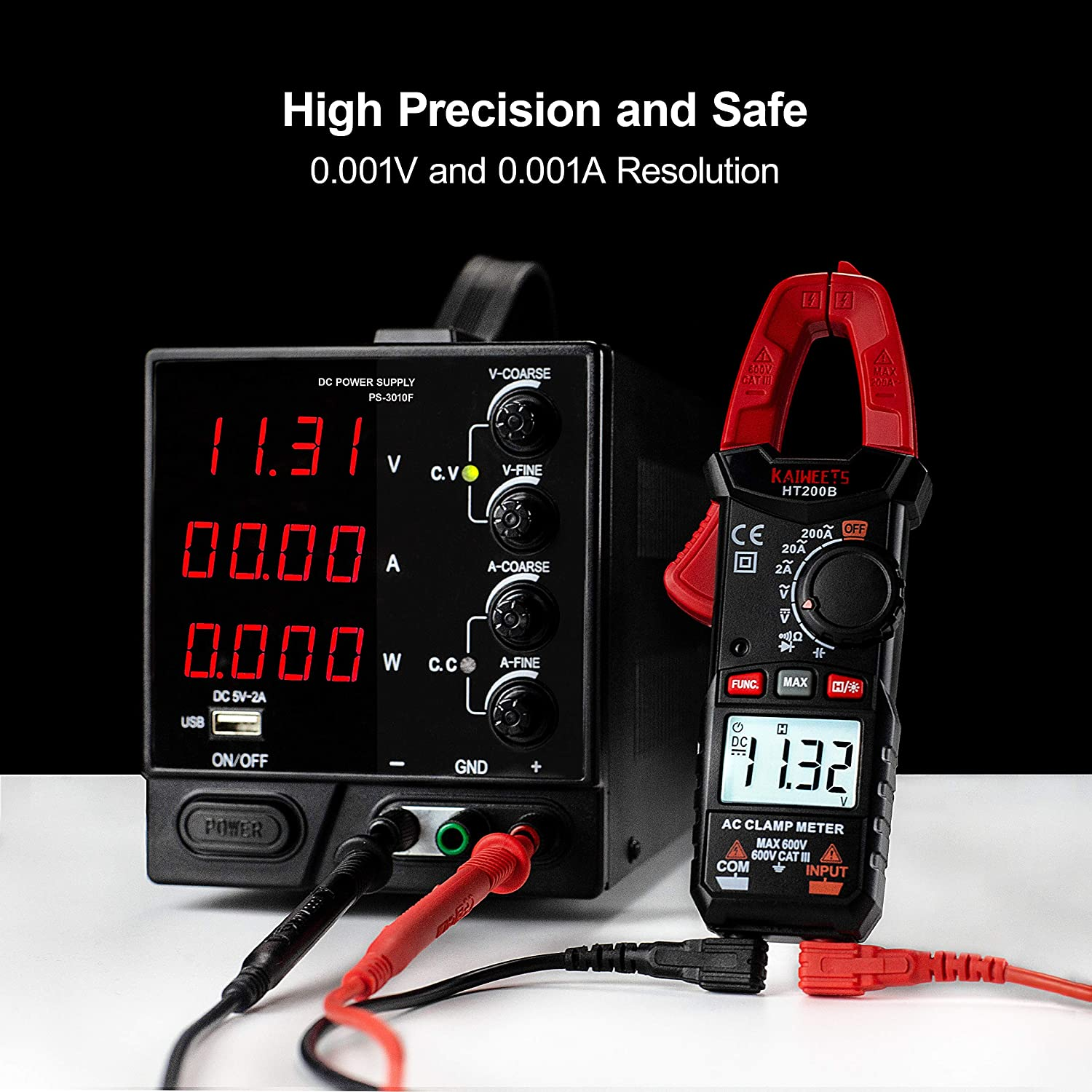 Kaiweets Ht200b Current Clamp Measuring Range Ac 0 200 A Auto Ranging Cat Iii 600 V Clamp Multimeter Measures Voltage Capacitance Continuity No Dc Measurement Business Industry Science