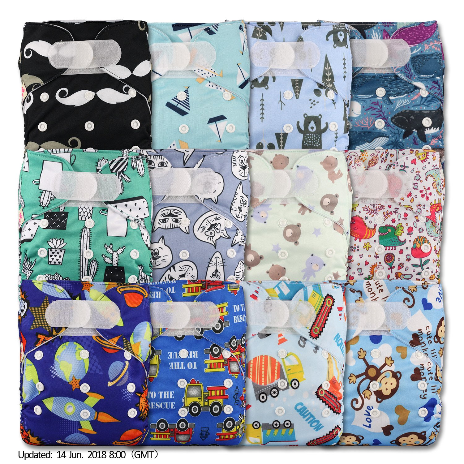Littles & Bloomz, Reusable Pocket Cloth Nappy, Fastener: Hook-Loop, Set of 12, Patterns 1203, With 24 Bamboo Inserts