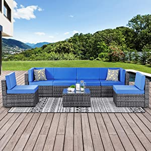 Walsunny 7 Piece Outdoor Patio Furniture Sets, PE Silver Gray Rattan Wicker Sectional Sofa Couch with Tea Table & Washable Cushions (Royal Blue)