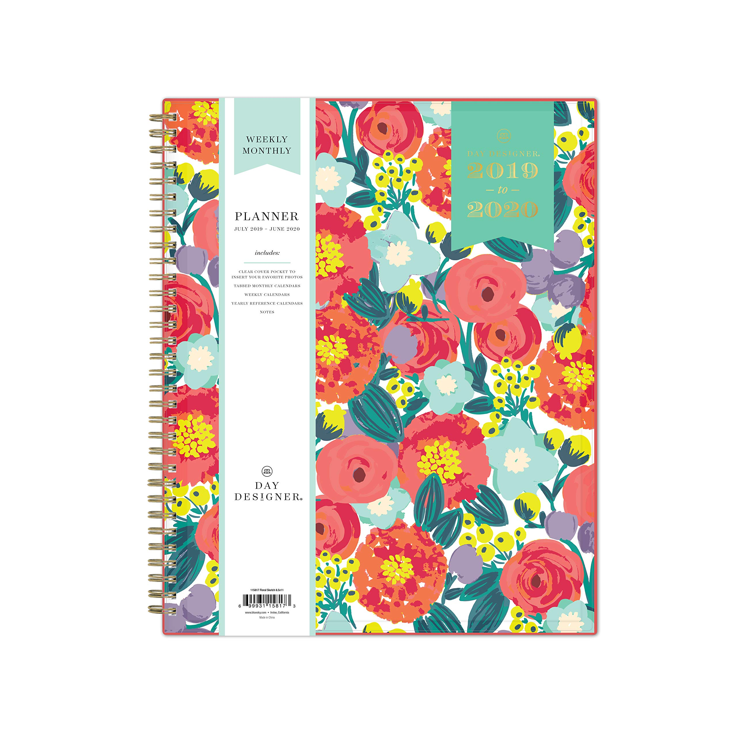 Day Designer for Blue Sky 2019-2020 Academic Year Weekly & Monthly Planner, Flexible Cover, Twin-Wire Binding, 8.5'' x 11'', Floral Sketch