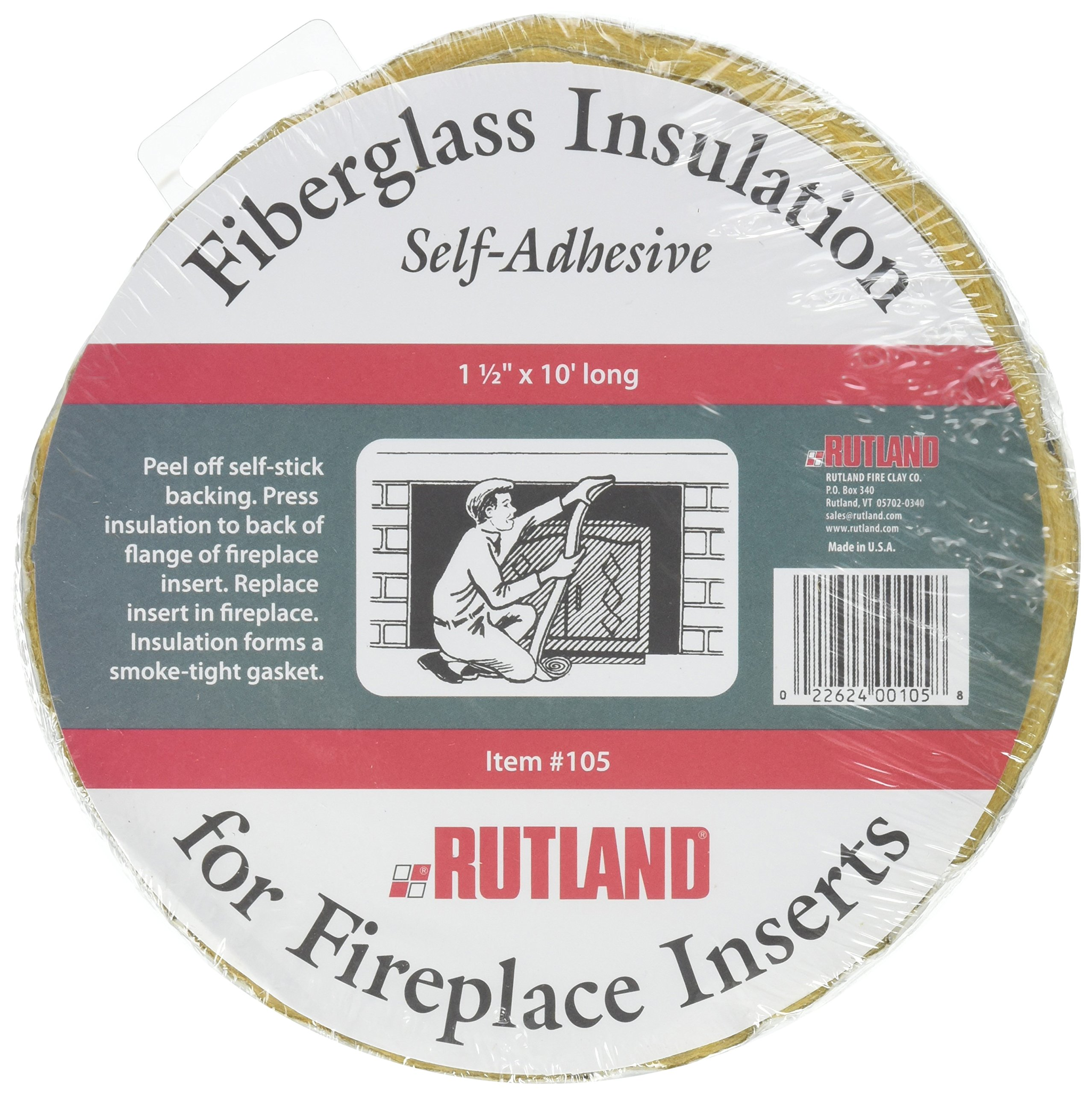 Rutland Fireplace Insert Insulation Fiberglass, 1-1/2-Inch by 10-Feet by Rutland Products