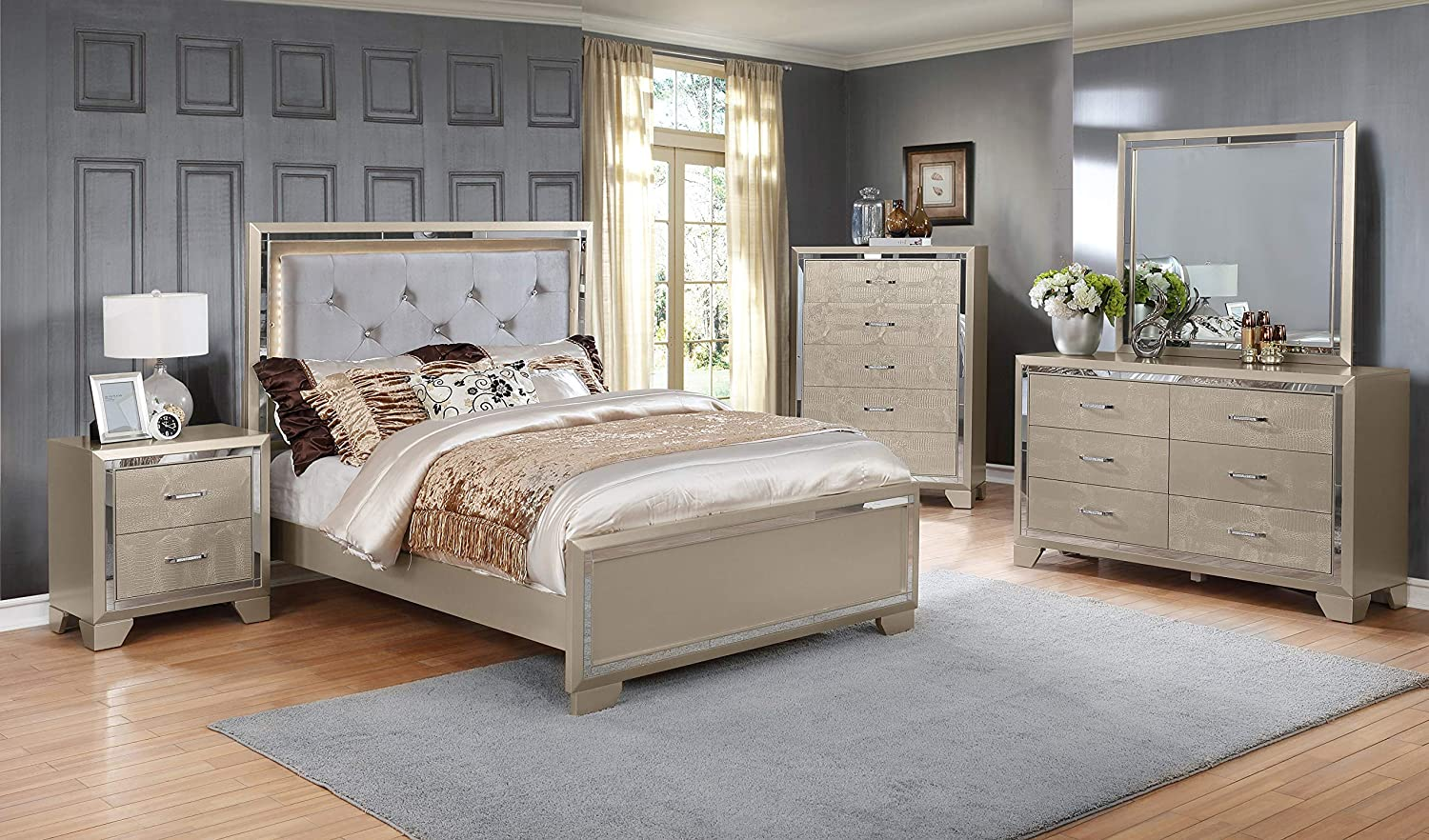 GTU Furniture Contemporary Metallic Gold and Silver Style Wooden 5Pc King Bedroom Set(K/D/M/N/C)