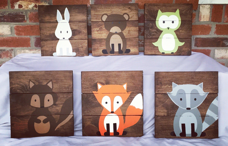 6 Woodland Animal Nursery Signs Nursery Decor Baby Shower Gift or Baby Decor Clever little fox nursery accessories